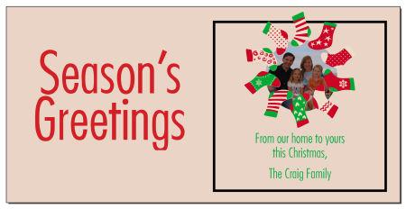 Personalized seasons greetings stocking wreath photo upload 8 x 4 christmas holiday cards wenvelopes m4hsunfo